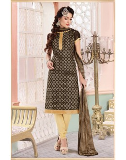Un-Stitched Black Chanderi Salwar Suit - 15066