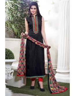 Un-Stitched Black Cotton Salwar Suit - 15115