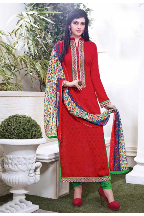 Ethnic Wear Red Cotton Salwar Suit - 15116