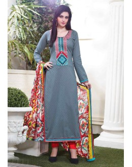 Ethnic Wear Grey Cotton Salwar Suit - 15118