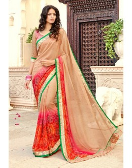 Georgette Multi-Colour Printed Saree - 15299