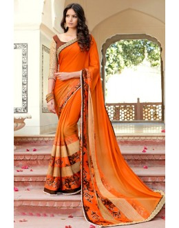 Georgette Multi-Colour Printed Saree - 15301