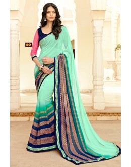 Georgette Multi-Colour Printed Saree - 15303