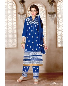Un-Stitched Blue Cotton Salwar Suit - 15352