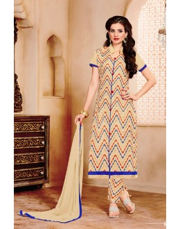 Casual Wear Beige Cotton Salwar Suit - 15356