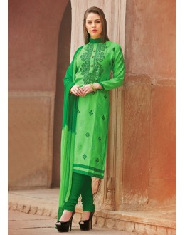 Ethnic Wear Green Glace Cotton Salwar Suit  - 15372