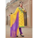 Office Wear Yellow Glace Cotton Salwar Suit  - 15375