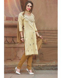 Casual Wear Beige Glace Cotton Salwar Suit  - 15380