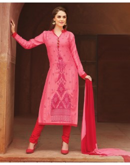 Ethnic Wear Pink Glace Cotton Salwar Suit  - 15383