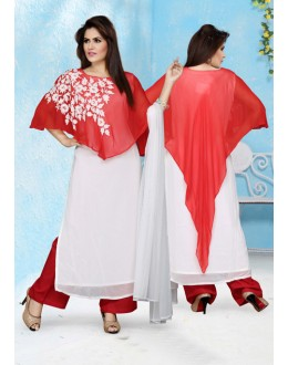 Ethnic Wear Readymade White Palazzo Suit - 15655