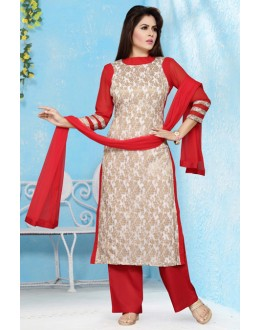 Festival Wear Readymade Off White Palazzo Suit - 15657