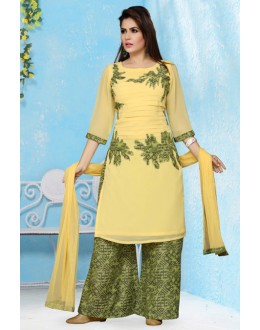 Office Wear Readymade Yellow Palazzo Suit - 15660