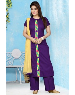 Casual Wear Readymade Purple Palazzo Suit - 15661