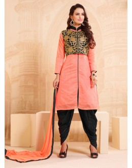 Ethnic Wear Peach Chanderi Patiyala Suit - 15742