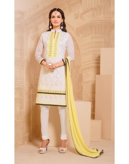 Office Wear White Chanderi Salwar Suit - 15743