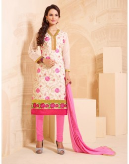 Festival Wear White Chanderi Salwar Suit - 15744