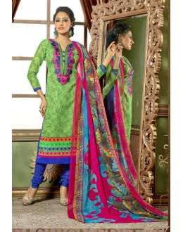 Office Wear Green Chanderi Salwar Suit - 15746