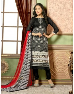 Casual Wear Black Chanderi Salwar Suit - 15747