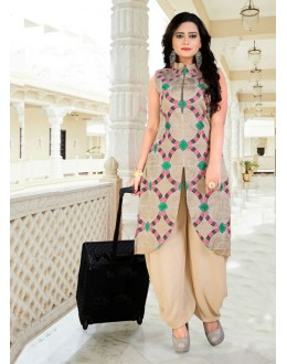 Party Wear Readymade Beige Indo Western Suit - 15766