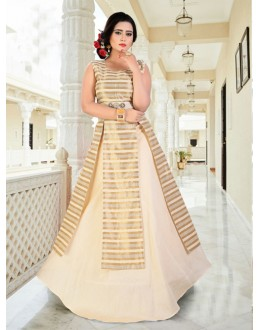 Fancy Readymade Cream Indo Western Suit - 15768