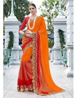 Party Wear Orange Georgette Saree - 15775