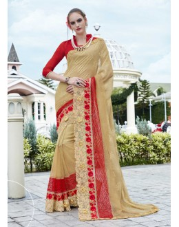 Ethnic Wear Beige Georgette Saree - 15779