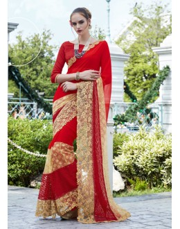 Ethnic Wear Red Marble Saree - 15782