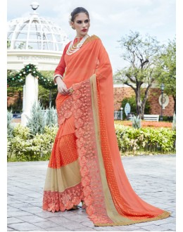 Party Wear Light Orange Georgette Saree - 15783