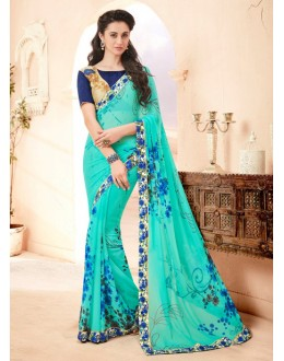 Ethnic Wear Sky Blue Pure Georgette Saree  - 15784