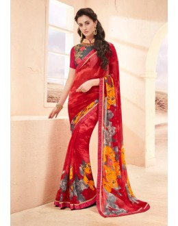 Pure Georgette Multi-Colour Printed Saree  - 15785