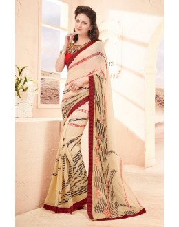 Ethnic Wear Cream Pure Georgette Saree  - 15794