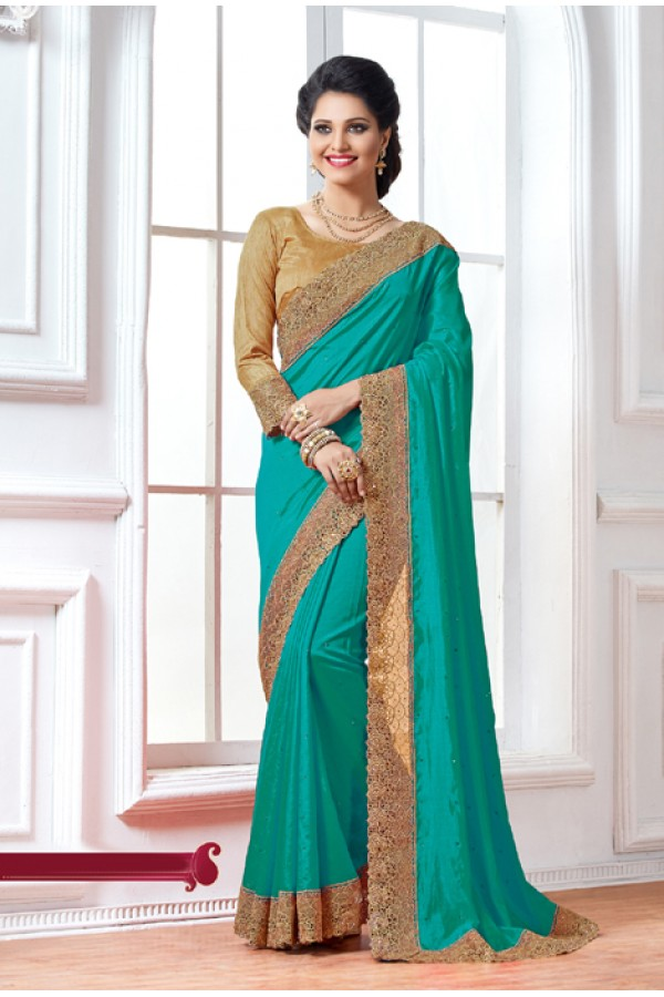 Crepe Silk Blue Embroidery Saree  - 15891