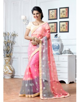 Festival Wear Light Pink Net Saree  - 15894