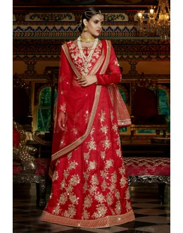 Designer Red Embroidery Lehenga Choli - 15955