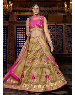 Wedding Wear Golden Raw Silk Lehenga Choli - 15957
