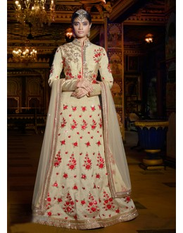 Festival Wear Beige Raw Silk Lehenga Choli - 15959