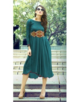 Ethnic Wear Readymade Green Kurti - 16014