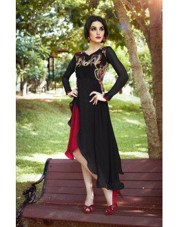 Fancy Readymade Black Georgette Kurti - 16016