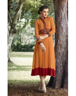 Party Wear Readymade Orange Kurti - 16017