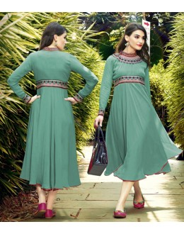 Party Wear Readymade Green Kurti - 16018