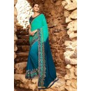 Georgette Multi-Colour Half & Half Saree  - 16184