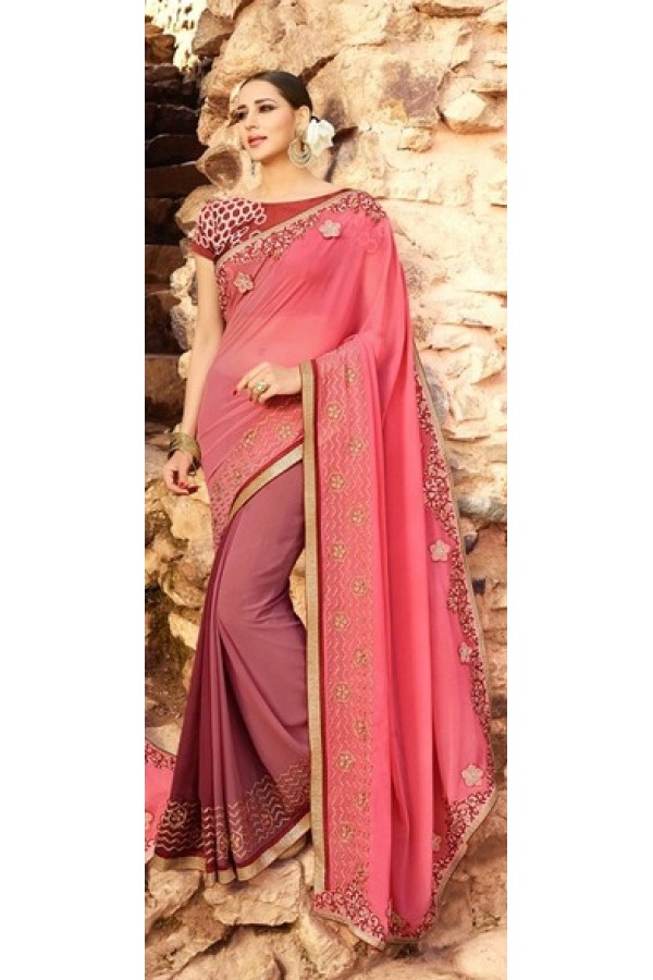 Party Wear Multi-Colour Georgette Saree  - 16187