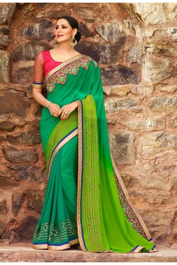 Ethnic Wear Green Georgette Saree  - 16188