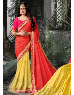Party Wear Peach & Yellow Saree  - 16205