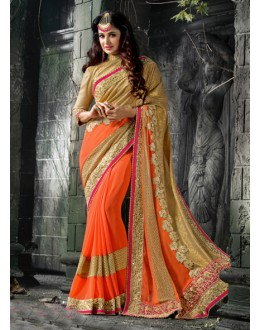 Festival Wear Beige & Orange Saree  - 16209