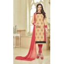 Office Wear Cream Glace Cotton Salwar Suit - 16230