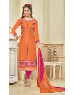 Ethnic Wear Orange Glace Cotton Salwar Suit - 16232
