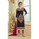 Festival Wear Black Glace Cotton Salwar Suit - 16236