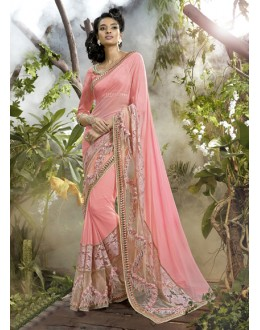 Festival Wear Pink Lycra Net Saree  - 16243