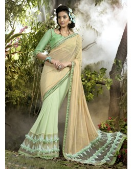 Party Wear Beige & Green Lycra Net Saree  - 16244